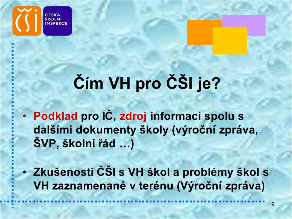 Čím VH pro ČŠI je Podklad pro IČ, zdroj informací spolu s dalšími dokumenty školy (výroční zpráva, ŠVP, školní řád …)