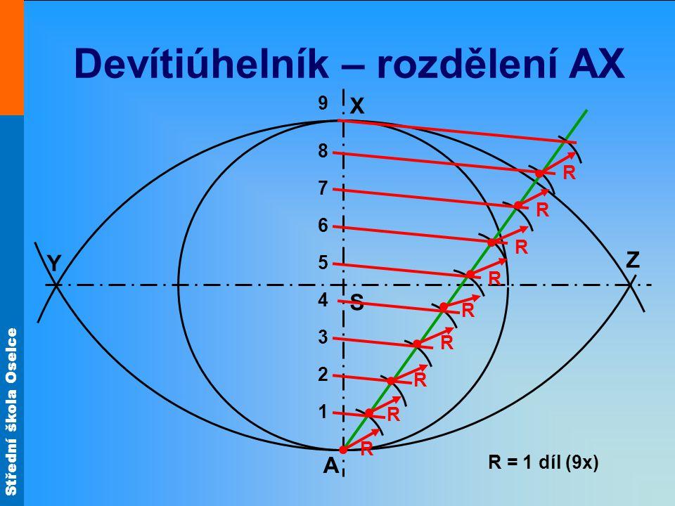 Devítiúhelník – rozdělení AX