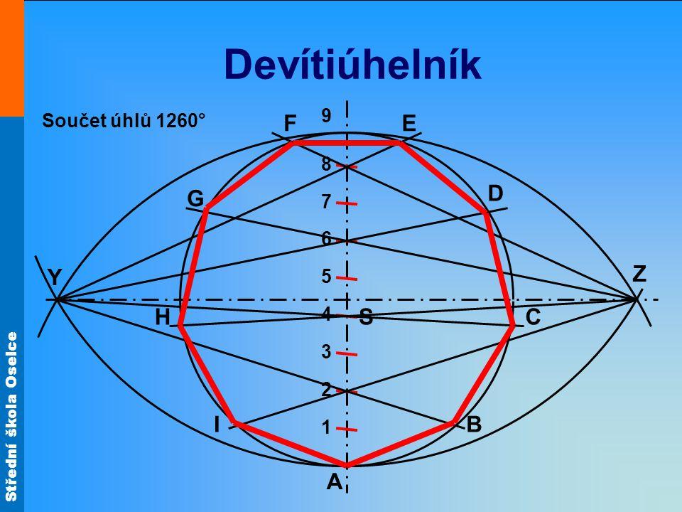 Devítiúhelník F E D G Y Z H S C I B A 9 Součet úhlů 1260° 8 7 6 5 4 3