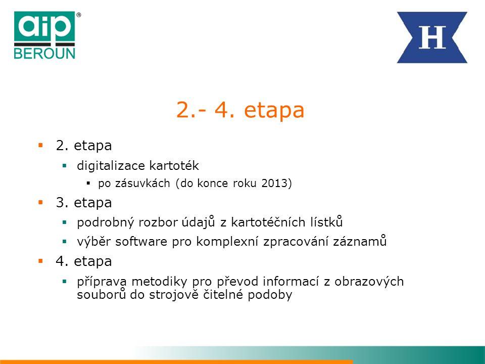 2.- 4. etapa 2. etapa 3. etapa 4. etapa digitalizace kartoték