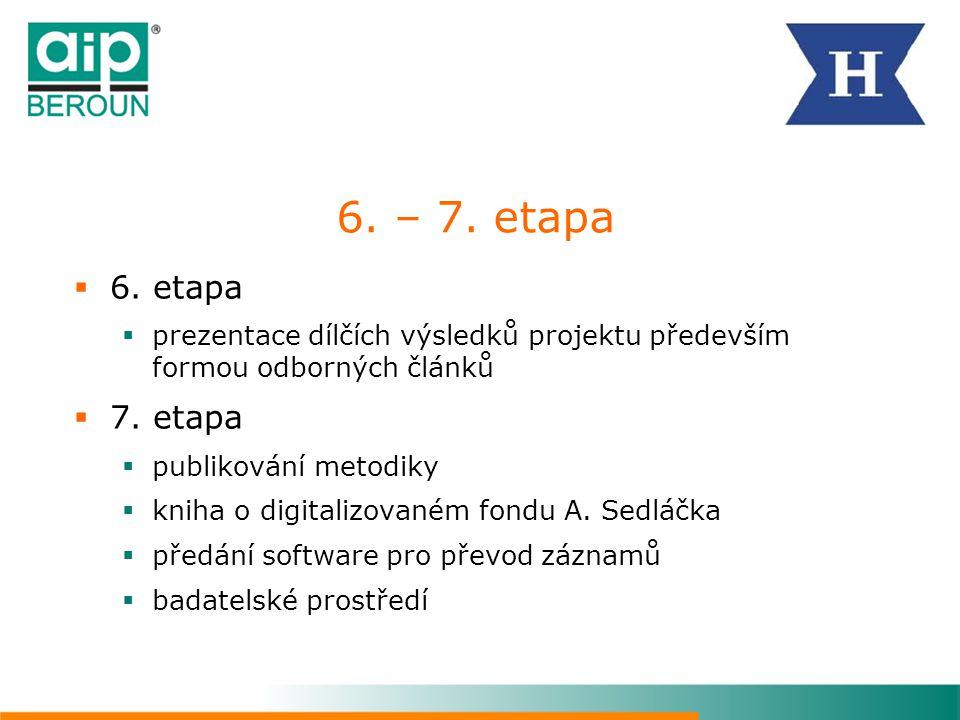 6. – 7. etapa 6. etapa. prezentace dílčích výsledků projektu především formou odborných článků. 7. etapa.