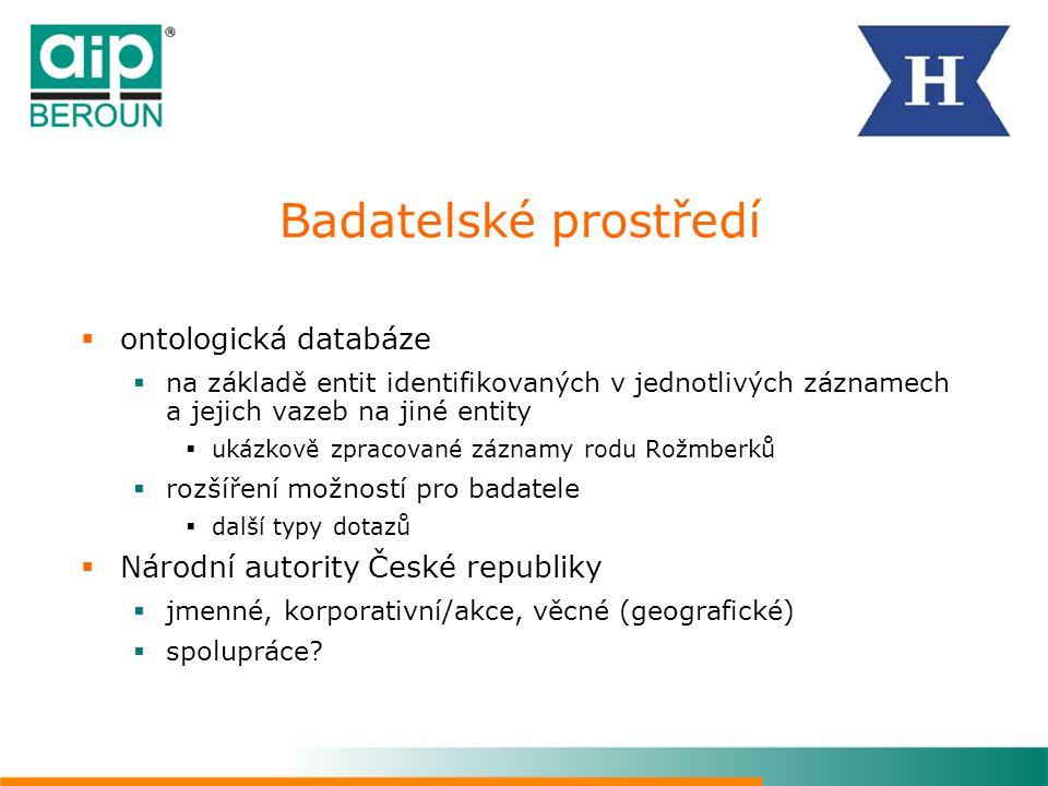 Badatelské prostředí ontologická databáze