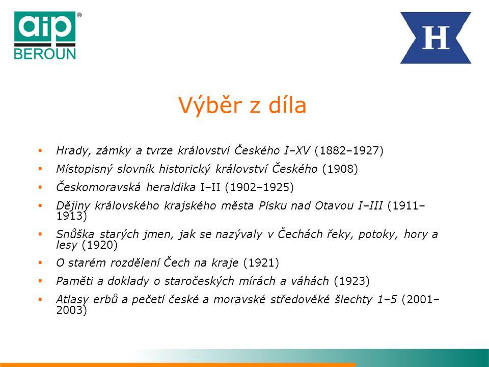 Výběr z díla Hrady, zámky a tvrze království Českého I–XV (1882–1927)