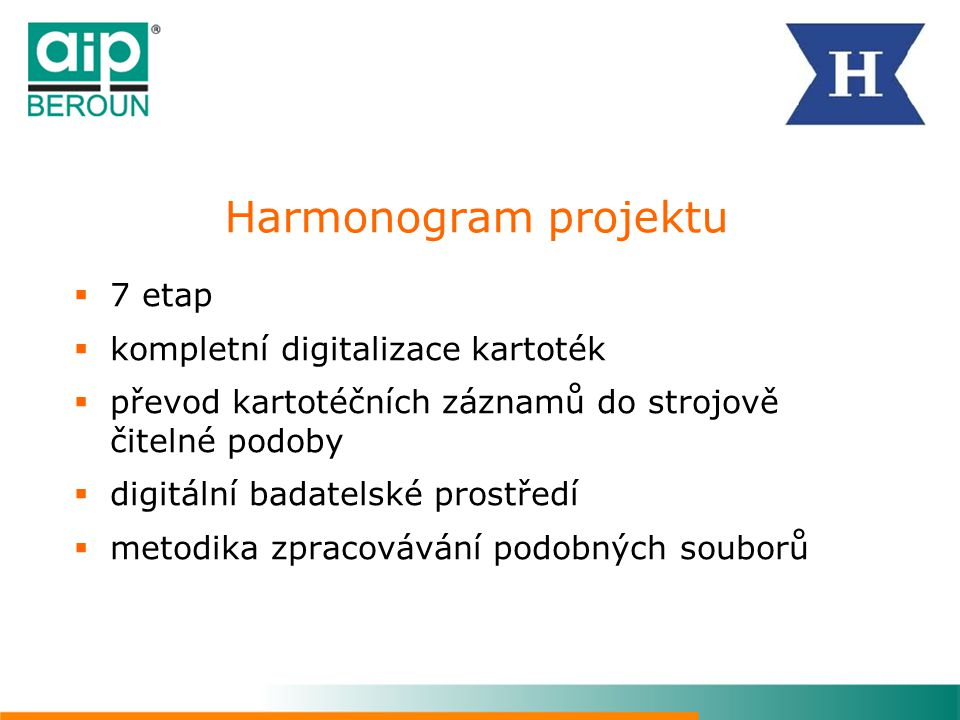 Harmonogram projektu 7 etap kompletní digitalizace kartoték