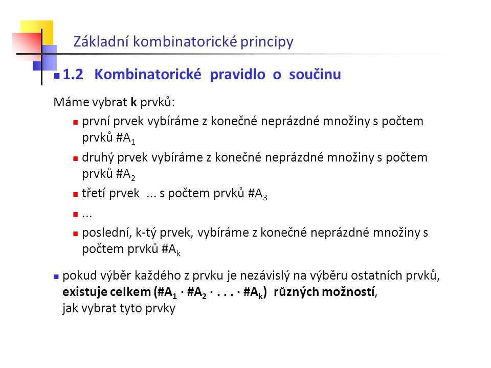Základní kombinatorické principy