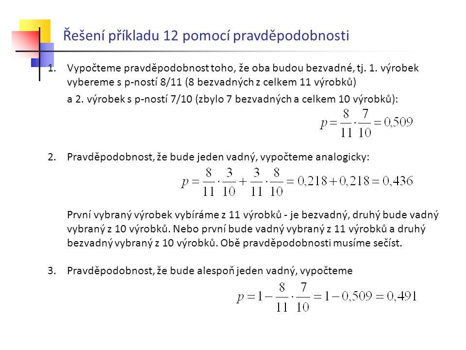 Řešení příkladu 12 pomocí pravděpodobnosti
