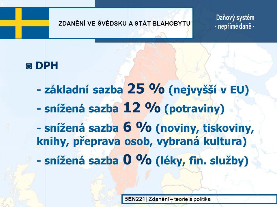 - základní sazba 25 % (nejvyšší v EU)