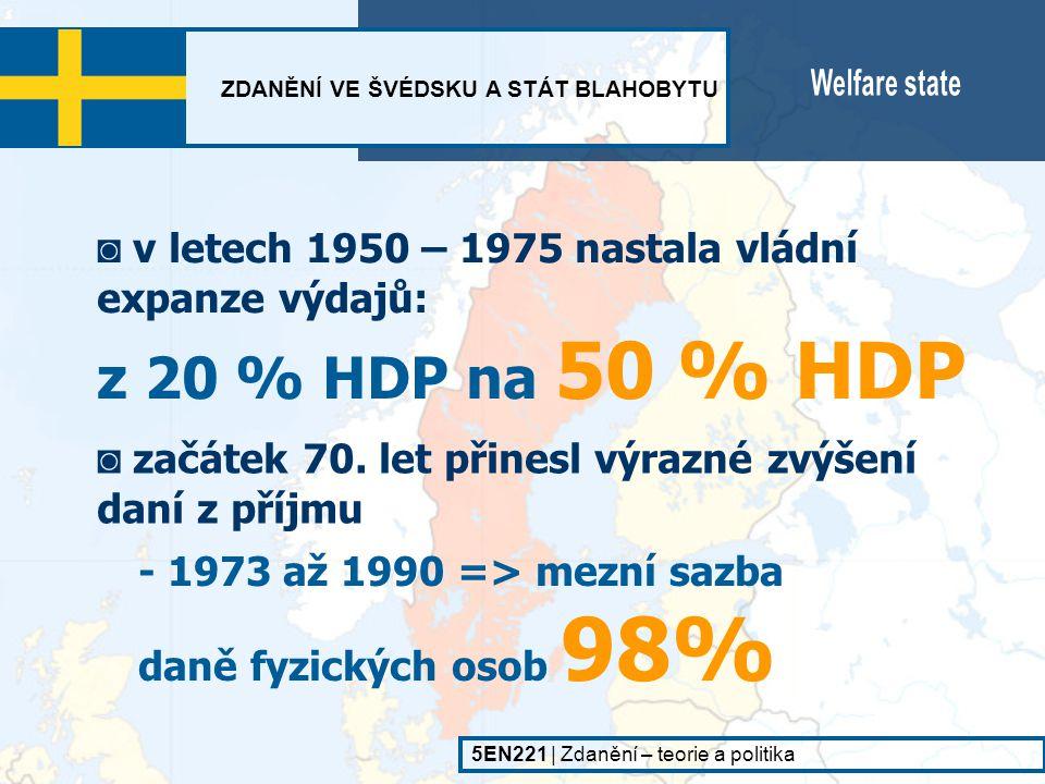 ◙ začátek 70. let přinesl výrazné zvýšení daní z příjmu