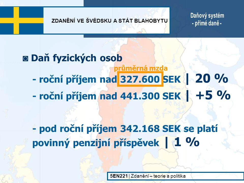 - roční příjem nad 327.600 SEK | 20 %