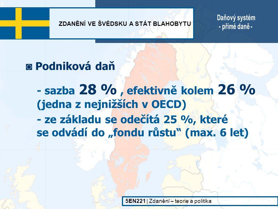 - sazba 28 % , efektivně kolem 26 % (jedna z nejnižších v OECD)