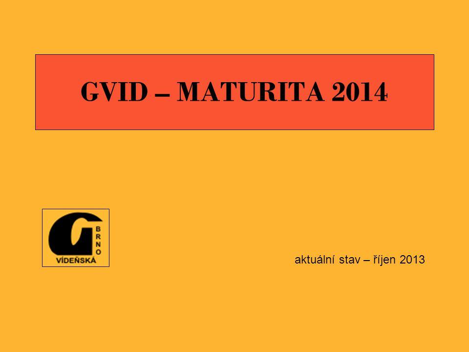 GVID – MATURITA 2014 aktuální stav – říjen 2013