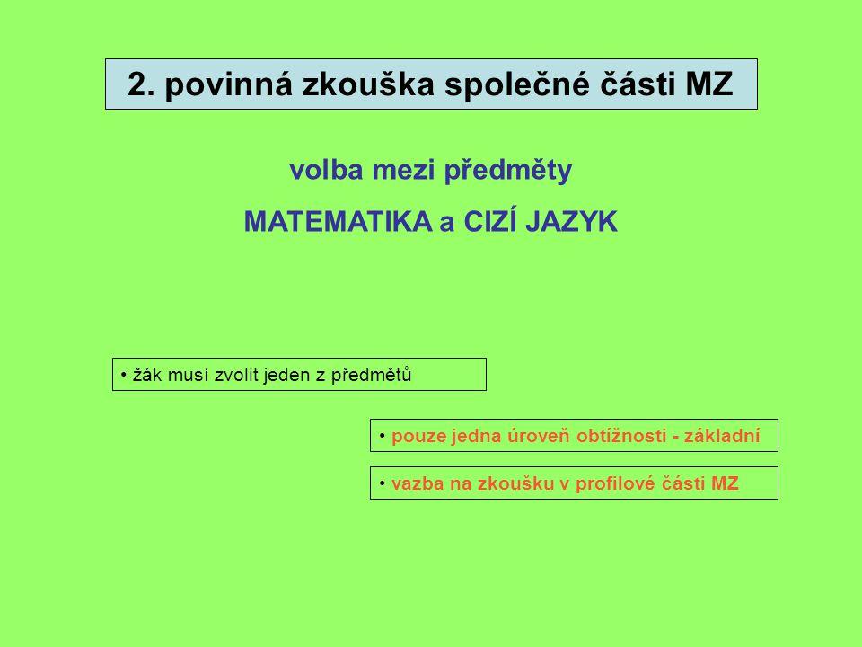 2. povinná zkouška společné části MZ MATEMATIKA a CIZÍ JAZYK