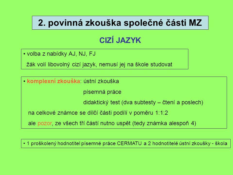 2. povinná zkouška společné části MZ