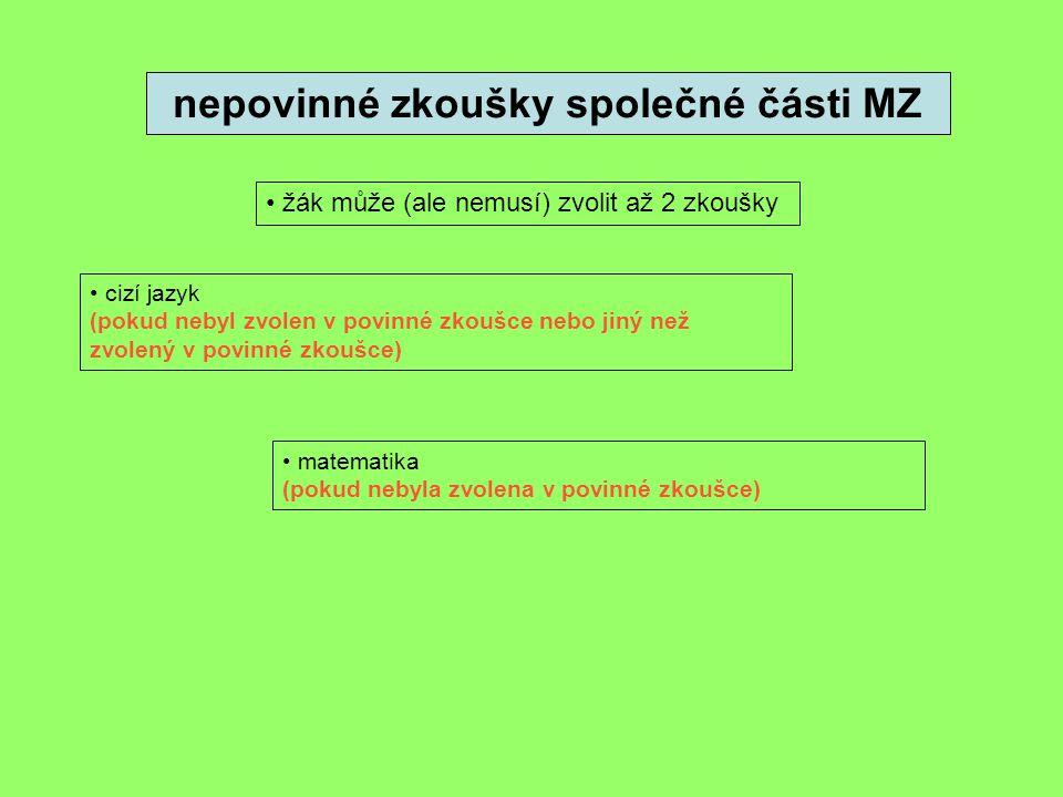 nepovinné zkoušky společné části MZ