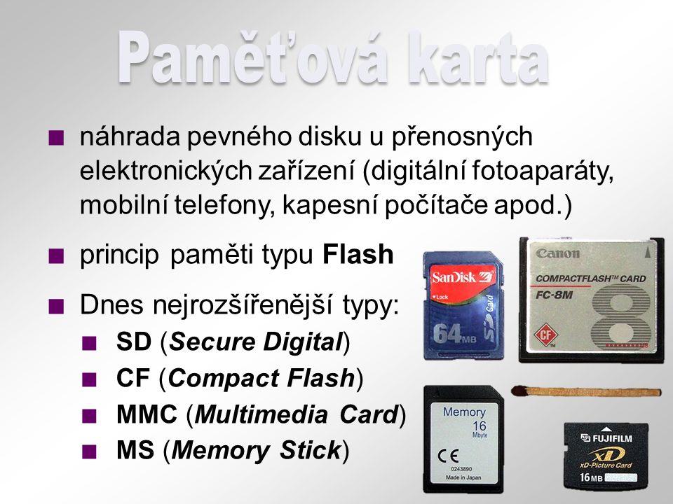 Paměťová karta náhrada pevného disku u přenosných