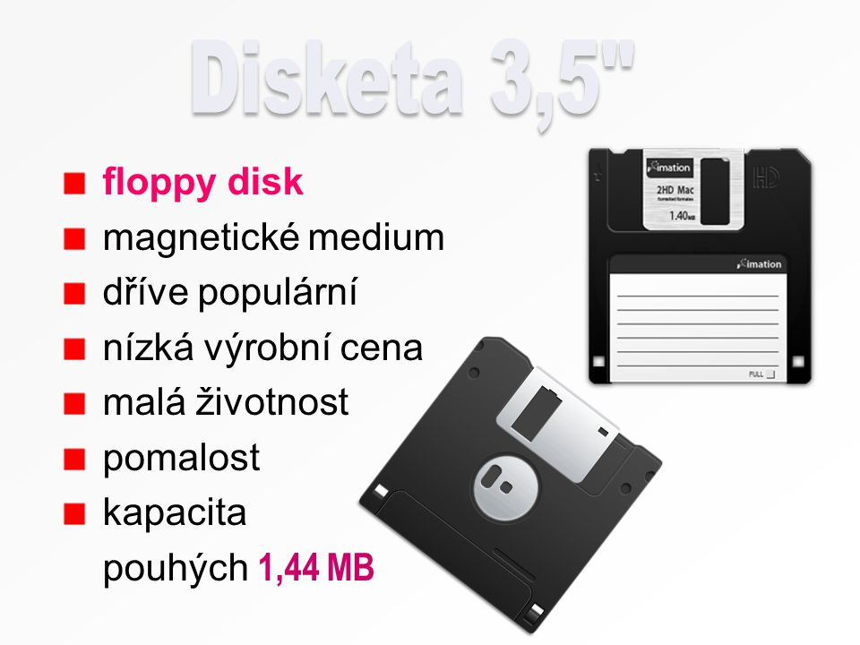 Disketa 3,5 floppy disk magnetické medium dříve populární