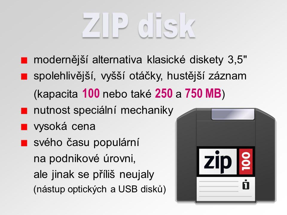 ZIP disk modernější alternativa klasické diskety 3,5