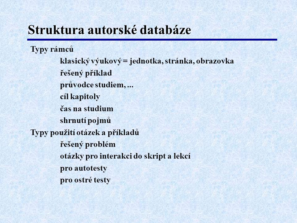 Struktura autorské databáze