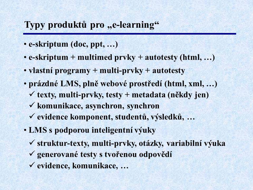 """Typy produktů pro """"e-learning"""