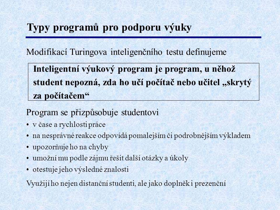 Typy programů pro podporu výuky