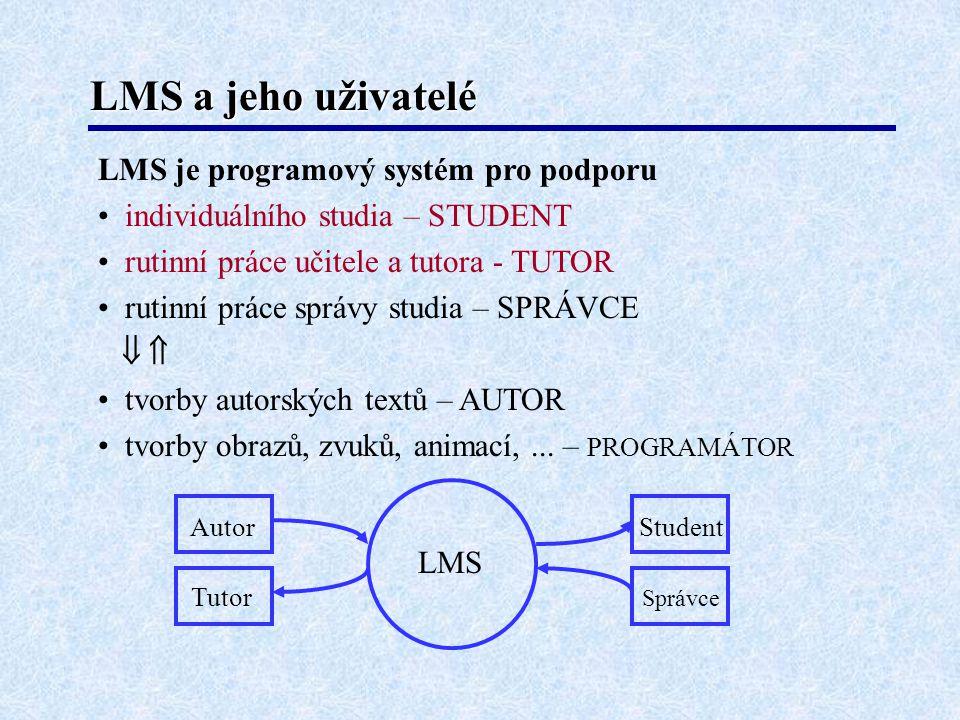 LMS a jeho uživatelé LMS je programový systém pro podporu