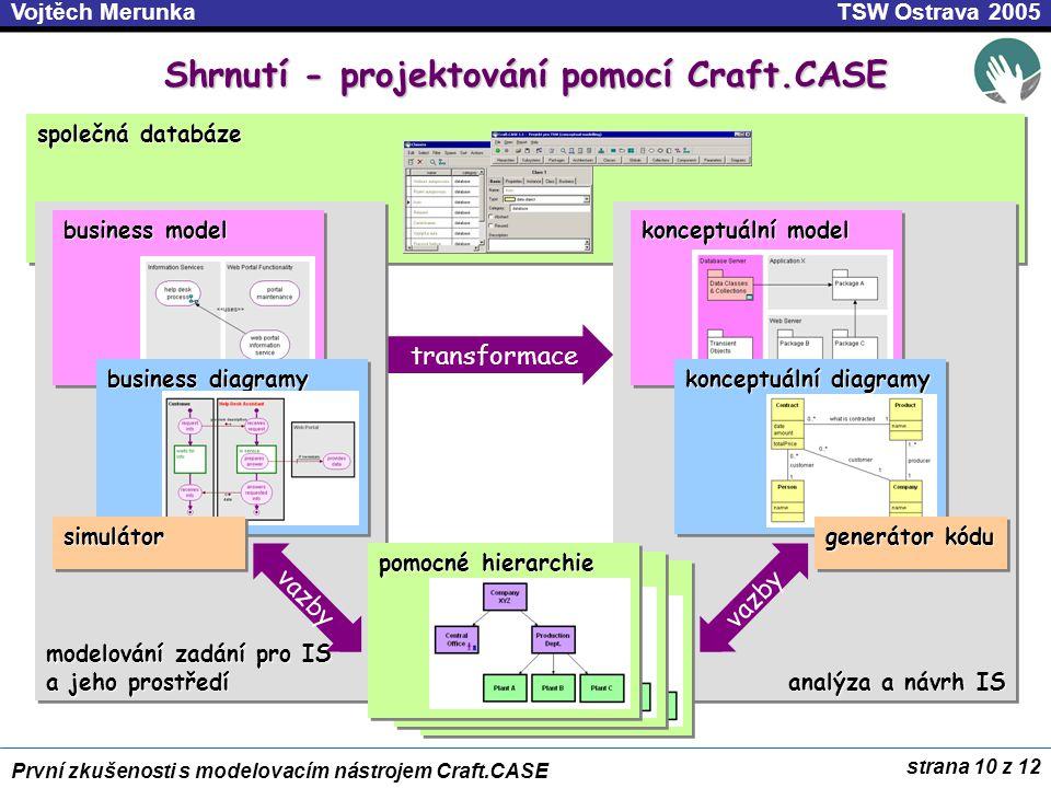 Shrnutí - projektování pomocí Craft.CASE