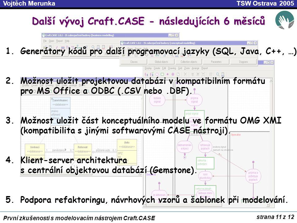 Další vývoj Craft.CASE - následujících 6 měsíců