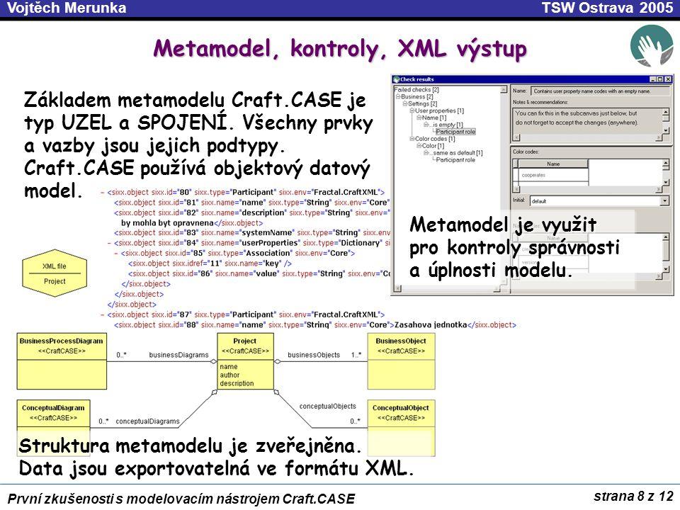 Metamodel, kontroly, XML výstup