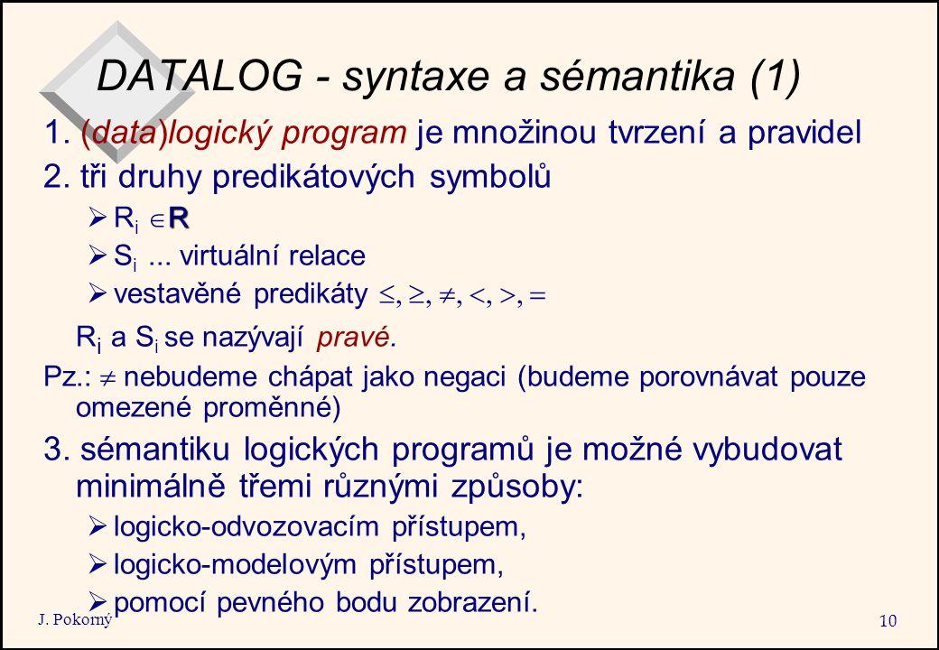 DATALOG - syntaxe a sémantika (1)