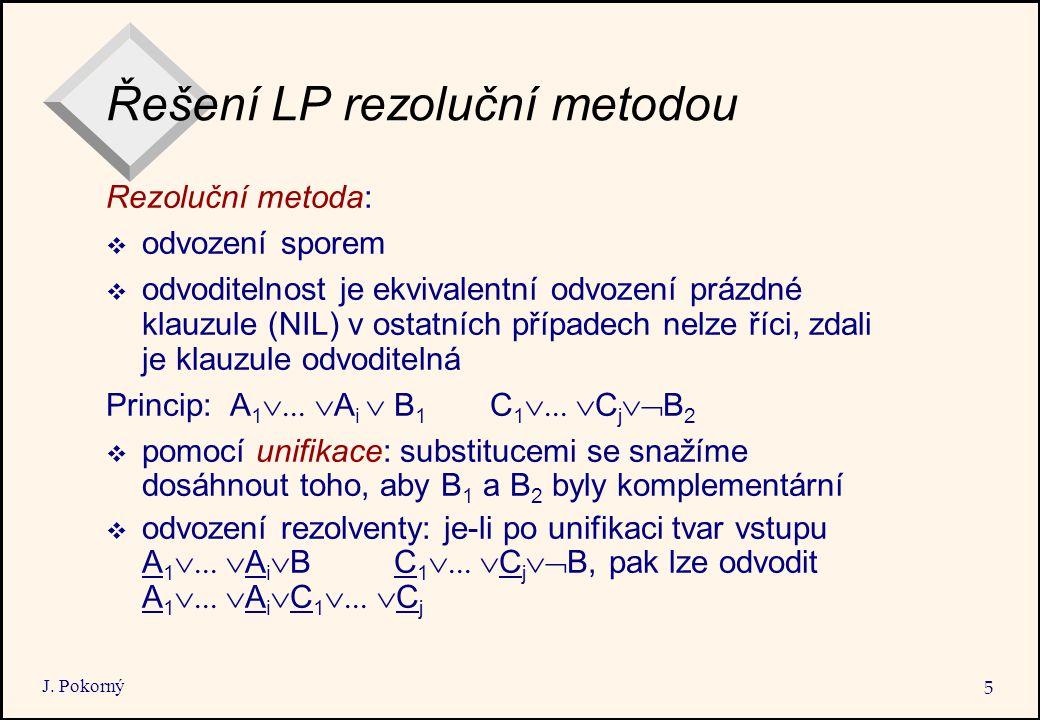 Řešení LP rezoluční metodou