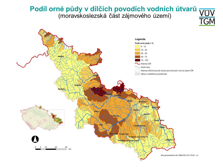 Podíl orné půdy v dílčích povodích vodních útvarů