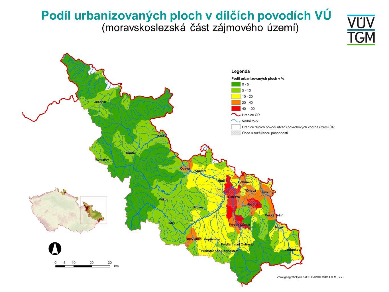 Podíl urbanizovaných ploch v dílčích povodích VÚ