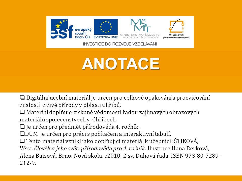 ANOTACE Digitální učební materiál je určen pro celkové opakování a procvičování znalostí z živé přírody v oblasti Chřibů.