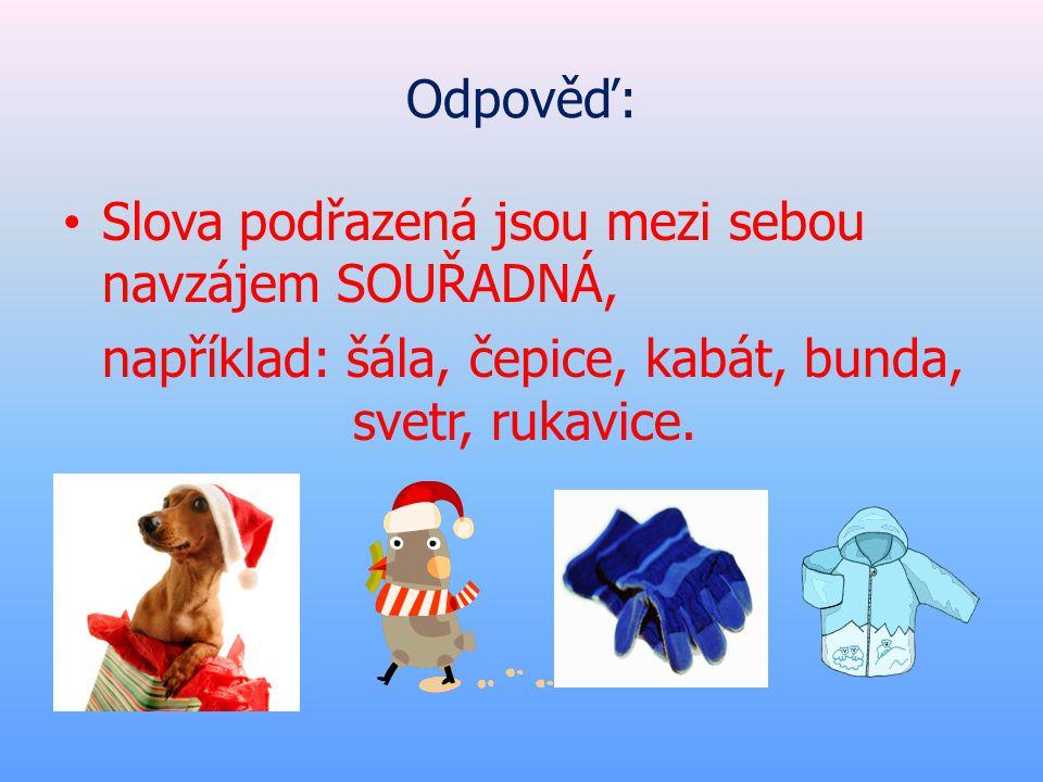 Odpověď: Slova podřazená jsou mezi sebou navzájem SOUŘADNÁ, například: šála, čepice, kabát, bunda, svetr, rukavice.