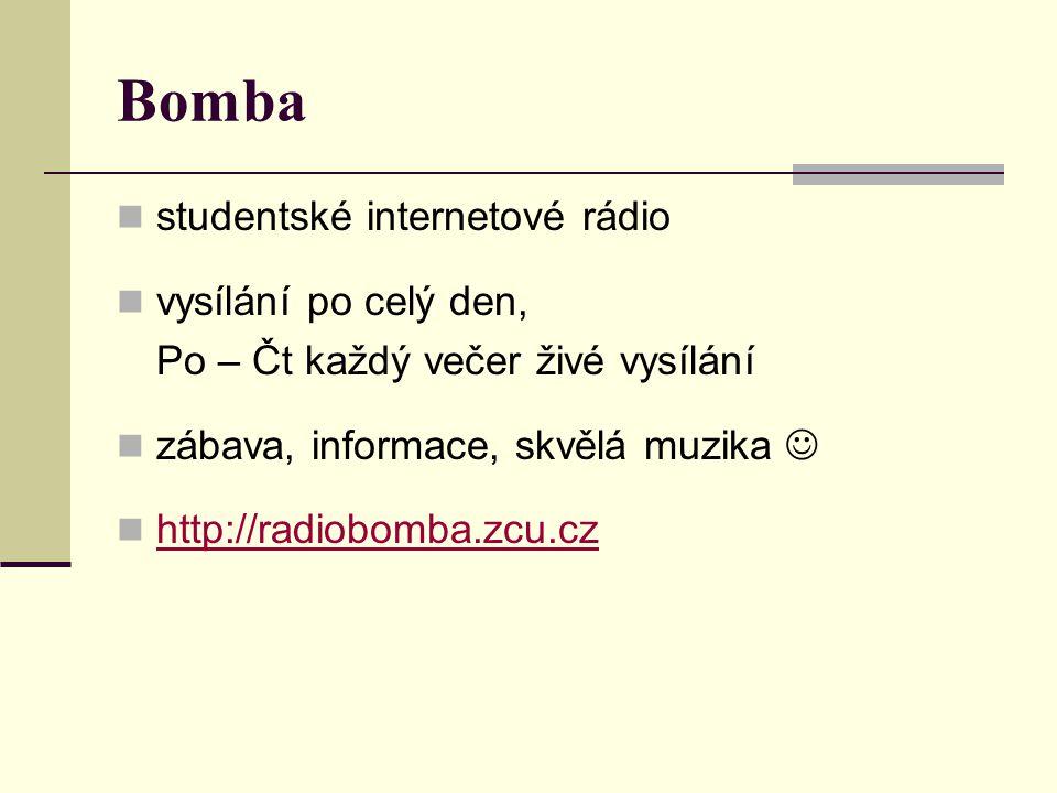 Bomba studentské internetové rádio vysílání po celý den,