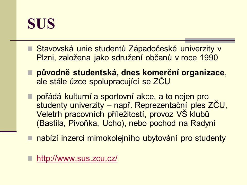 SUS Stavovská unie studentů Západočeské univerzity v Plzni, založena jako sdružení občanů v roce 1990.