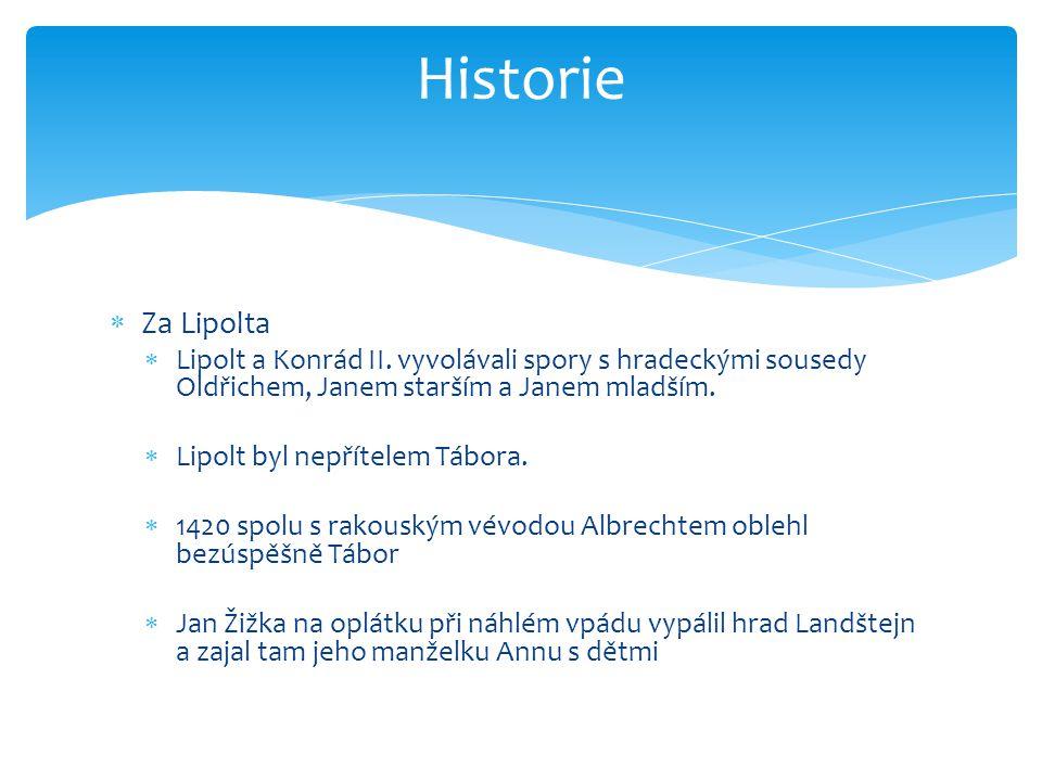 Historie Za Lipolta. Lipolt a Konrád II. vyvolávali spory s hradeckými sousedy Oldřichem, Janem starším a Janem mladším.