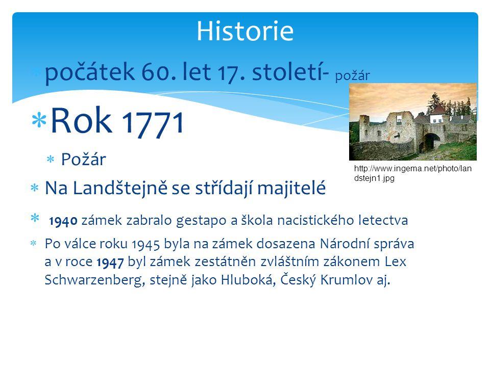 Rok 1771 Historie počátek 60. let 17. století- požár