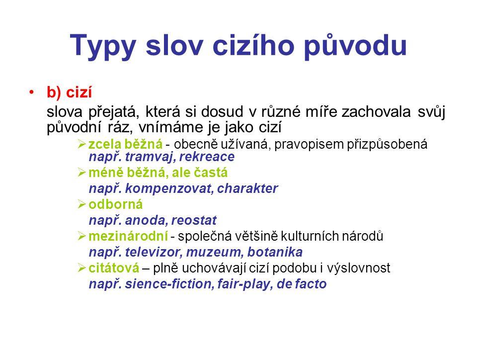 Typy slov cizího původu