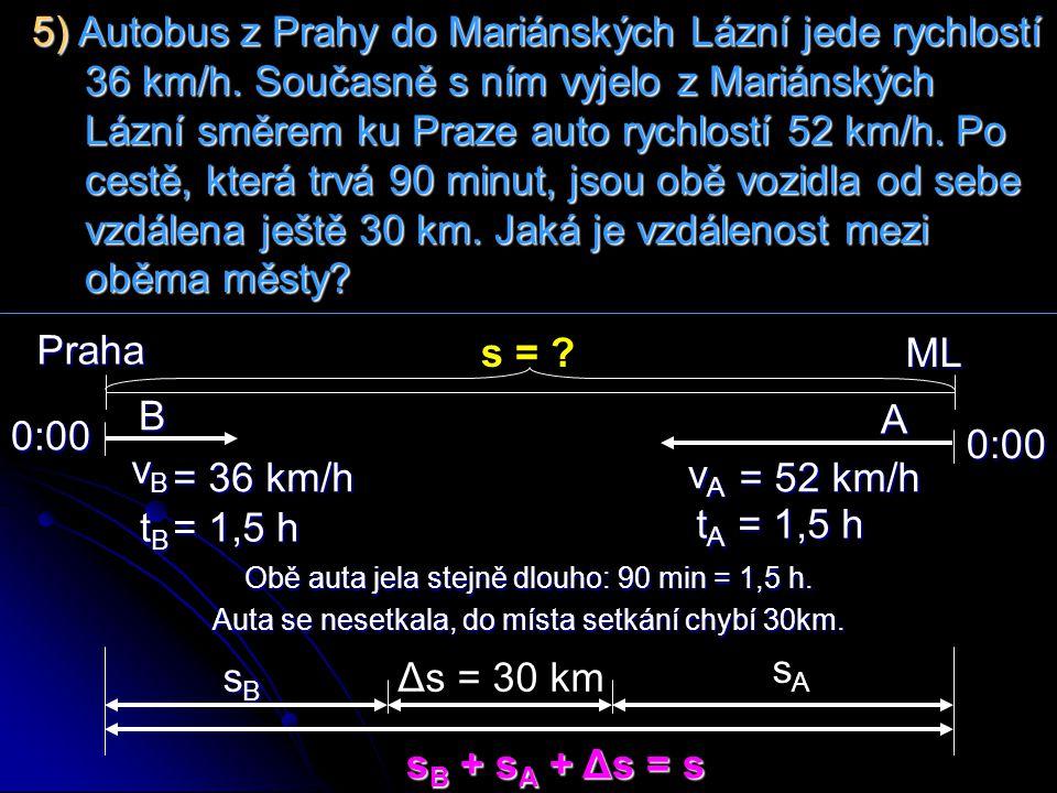 5) Autobus z Prahy do Mariánských Lázní jede rychlostí 36 km/h