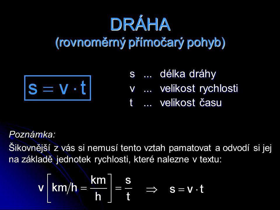 DRÁHA (rovnoměrný přímočarý pohyb)