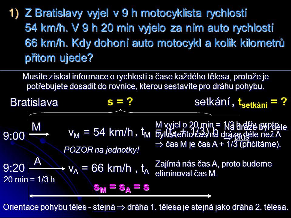 1) Z Bratislavy vyjel v 9 h motocyklista rychlostí 54 km/h
