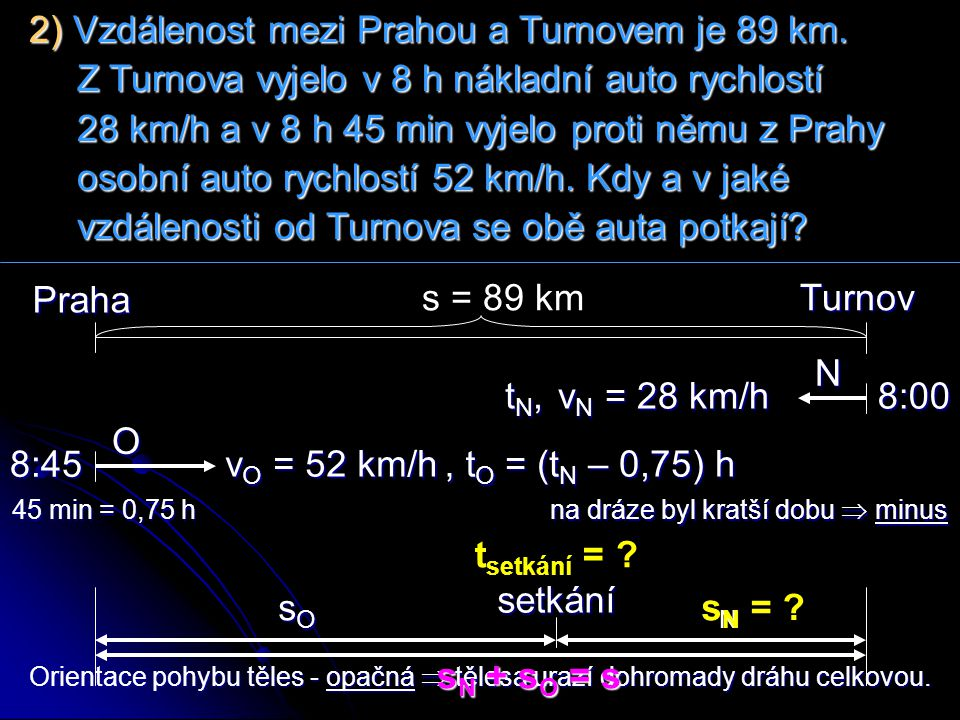 2) Vzdálenost mezi Prahou a Turnovem je 89 km