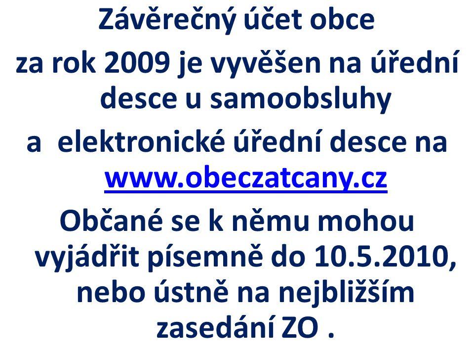 Závěrečný účet obce za rok 2009 je vyvěšen na úřední desce u samoobsluhy a elektronické úřední desce na www.obeczatcany.cz Občané se k němu mohou vyjádřit písemně do 10.5.2010, nebo ústně na nejbližším zasedání ZO .