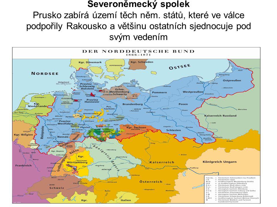 Severoněmecký spolek Prusko zabírá území těch něm