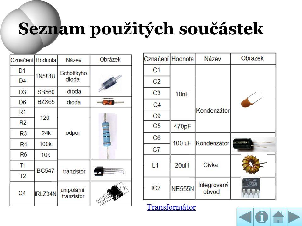 Seznam použitých součástek