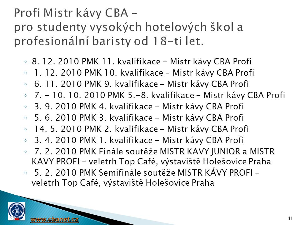 Profi Mistr kávy CBA – pro studenty vysokých hotelových škol a profesionální baristy od 18-ti let.