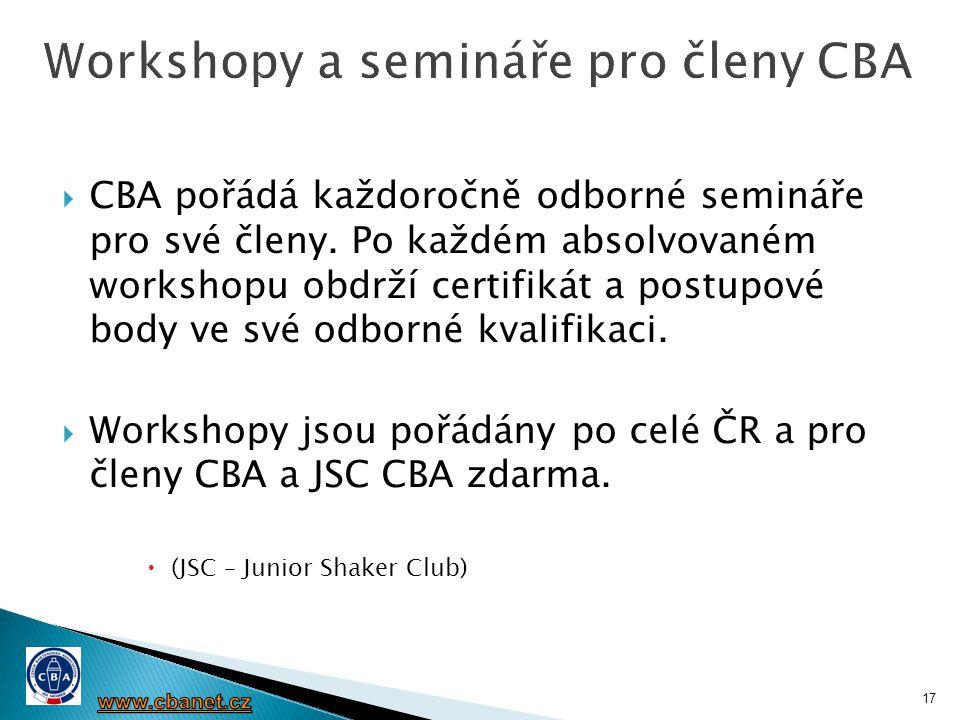 Workshopy a semináře pro členy CBA