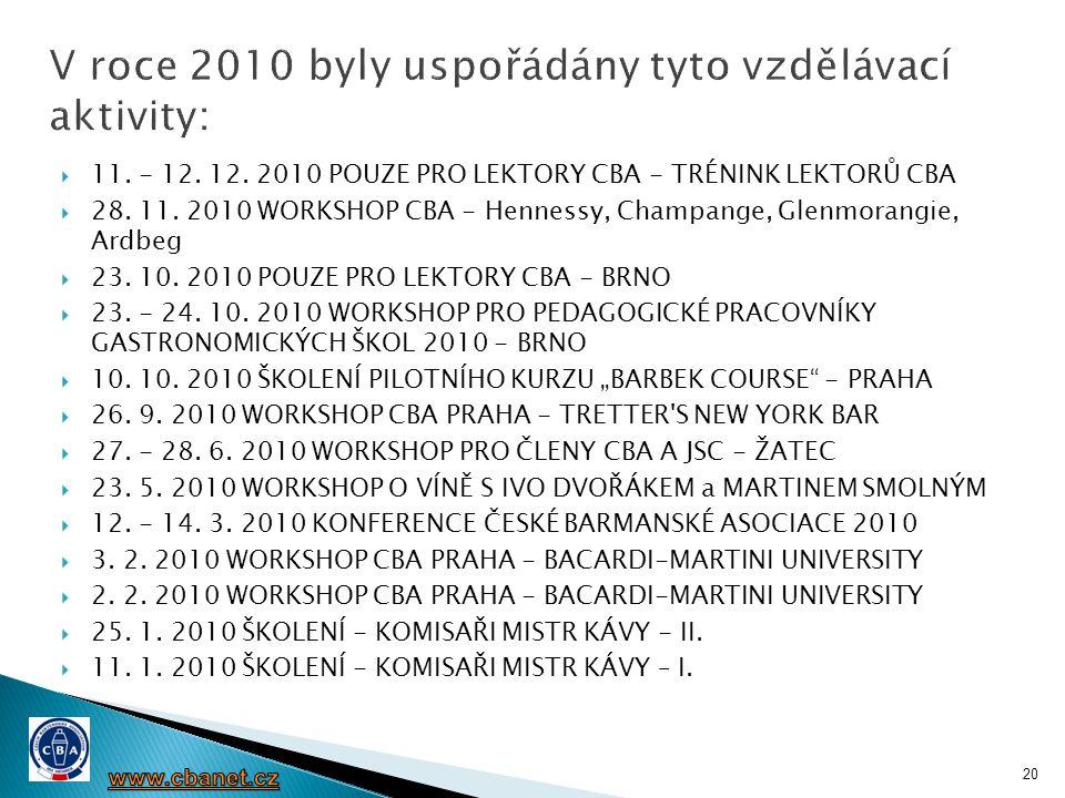 V roce 2010 byly uspořádány tyto vzdělávací aktivity: