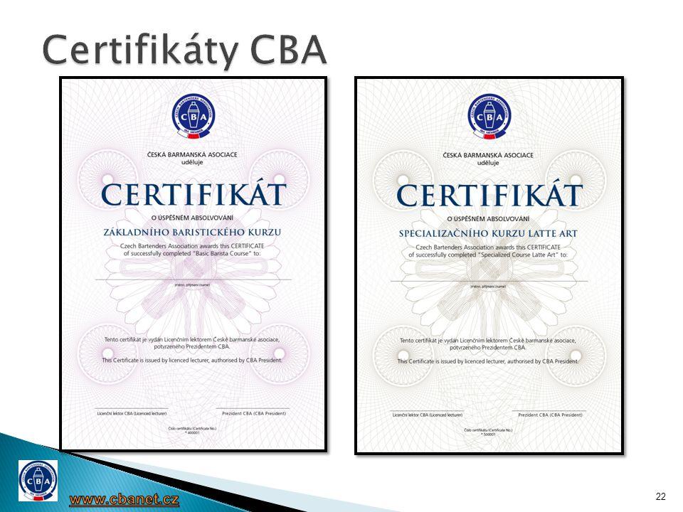 Certifikáty CBA www.cbanet.cz